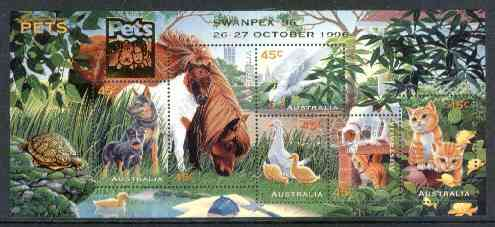 Australia 1996 Pets m/sheet opt'd for 'Swanpex' Stamp Exhibition unmounted mint, SG MS 1651var