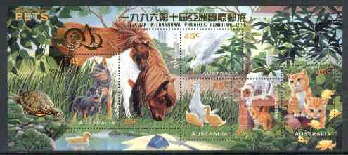 Australia 1996 Pets m/sheet opt'd for 10th Asian International Stamp Exhibition unmounted mint SG MS 1651var, stamps on animals    cats    dogs     birds    ducks     horses    parrots      stamp exhibitions    tortoise