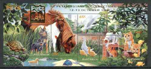 Australia 1996 Pets m/sheet opt'd for St Peters Stamp & Collectible Fair unmounted mint, SG MS 1651var