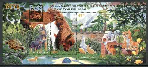 Australia 1996 Pets m/sheet opt'd for ASDA Centrepoint Stamp & Coin Show unmounted mint, SG MS 1651var
