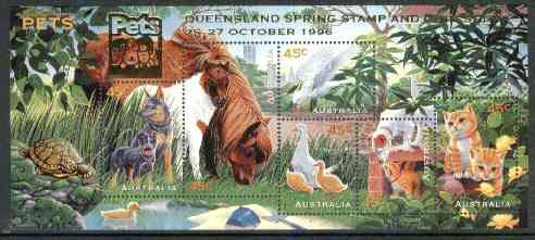 Australia 1996 Pets m/sheet opt'd for Queensland Spring Stamp & Coin Show unmounted mint, SG MS 1651var