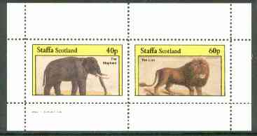 Staffa 1982 Animals (Elephant & Lion) perf set of 2 (40p & 60p) unmounted mint