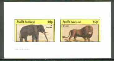 Staffa 1982 Animals (Elephant & Lion) imperf set of 2 (40p & 60p) unmounted mint, stamps on animals    cats     elephants