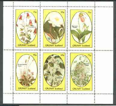Grunay 1982 Flowers #12 (Columbine, Water Lily, Moccasin, Violet, Clematis & Mountain Fringe) perf set of 6 values unmounted mint