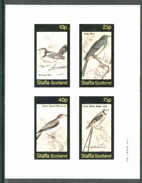 Staffa 1982 Birds #62 (Scissor Tail, Piha, Blackcap & Chat) imperf set of 4 values unmounted mint