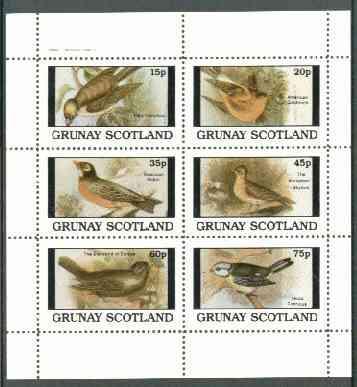 Grunay 1982 Birds #07 (Goldfinch, Skylark, Robin etc) perf set of 6 values unmounted mint