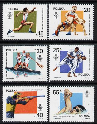 Poland 1988 Olympic Games set of 6 unmounted mint (SG 3162-67), stamps on sport     wrestling     judo    swimming    shooting    canoeing     athletics    olympics, stamps on martial arts