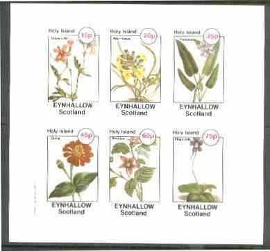 Eynhallow 1982 Flowers #27 (Crane's Bill, Wall-Flower, Pontederia, Zinnia, Bramble & Pinguicula) imperf set of 6 values unmounted mint