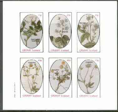 Grunay 1982 Flowers #14 (Sweet Briar, Bramble, Dew Berry & Cinquefoil x 3) imperf set of 6 values unmounted mint