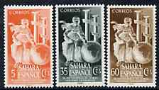 Spanish Sahara 1953 Royal Geographical Society set of 3 unmounted mint, SG 98-100*, stamps on , stamps on  stamps on geography