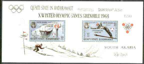 Aden - Qu'aiti 1967 Grenoble Winter Olympics perf m/sheet unmounted mint, Mi BL 11A