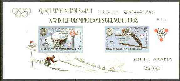 Aden - Qu'aiti 1967 Grenoble Winter Olympics imperf m/sheet unmounted mint, Mi BL 11B