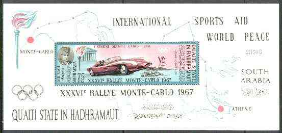 Aden - Qu'aiti 1967 Monte Carlo Rally perf m/sheet unmounted mint, Mi BL 14A