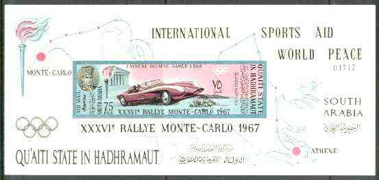 Aden - Quaiti 1967 Monte Carlo Rally imperf m/sheet unmounted mint, Mi BL 14B, stamps on racing cars, stamps on cars, stamps on sport, stamps on olympics