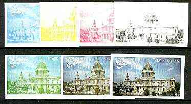 Oman 1977 Silver Jubilee (London Scenes) 3B value (St Pauls Cathedral) set of 7 imperf progressive colour proofs comprising the 4 individual colours plus 2, 3 and all 4-c...
