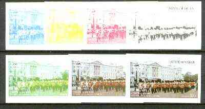 Oman 1977 Silver Jubilee (London Scenes) 10B value (Marching band outside Buckingham Palace) set of 7 imperf progressive colour proofs comprising the 4 individual colours plus 2, 3 and all 4-colour composites unmounted mint