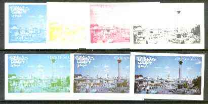 Oman 1977 Silver Jubilee (London Scenes) 30B value (Trafalgar Square) set of 7 imperf progressive colour proofs comprising the 4 individual colours plus 2, 3 and all 4-colour composites unmounted mint