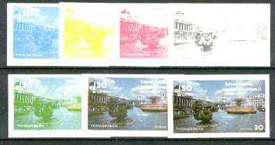Iso - Sweden 1977 Silver Jubilee (London Scenes) 30 value (Fountains at Trafalgar Square) set of 7 imperf progressive colour proofs comprising the 4 individual colours plus 2, 3 and all 4-colour composites unmounted mint