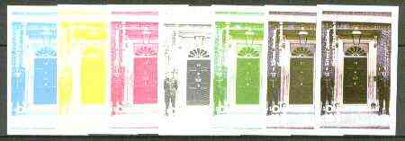 Iso - Sweden 1977 Silver Jubilee (London Scenes) 100 value (Policemen outside 10 Downing Street) set of 7 imperf progressive colour proofs comprising the 4 individual colours plus 2, 3 and all 4-colour composites unmounted mint