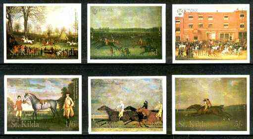 St Kilda 1969 Painting of Horses imperf complete set of 6 values unmounted mint*