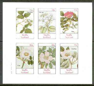 Staffa 1982 Plants #03 (Raspberry, Pear Tree & Roses x 4) imperf  set of 6 values unmounted mint