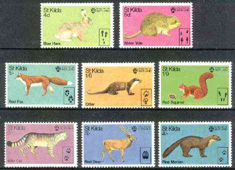 St Kilda 1970 Wildlife (Hare, Squirrel, Vole, Fox, Deer, Pine Marten, Wild Cat & Otter) unmounted mint perf set of 8*