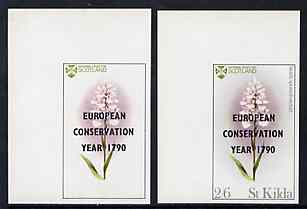 St Kilda 1970 Flowers 2s6d (Heath Spotted Orchid) with 'European Conservation Year' opt imperf single with grey omitted (St Kilda, imprint & value) plus imperf normal unmounted mint