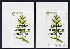 St Kilda 1970 Flowers 1s9d (Yellow Rattle) with 'European Conservation Year' opt imperf single with grey virtually omitted (St Kilda, imprint & value) plus imperf normal both unmounted mint