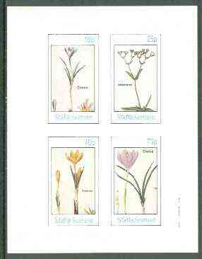 Staffa 1982 Flowers #30 (Crocus x 3 & Valeriana) imperf set of 4 values unmounted mint