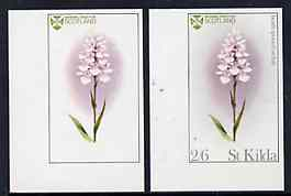 St Kilda 1969 Flowers 2s6d (Heath Spotted Orchid) imperf single with grey omitted (St Kilda, imprint & value) plus imperf normal unmounted mint