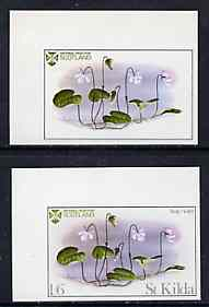 St Kilda 1969 Flowers 1s6d (Bog Violet) imperf single with grey omitted (St Kilda, imprint & value) plus imperf normal unmounted mint