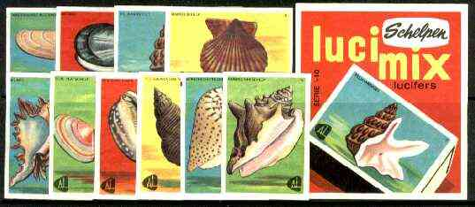 Match Box Labels -  Complete set of 10 + 1 Shells (Licimix produced in 1966)