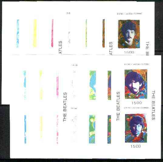 Batum 1995 Beatles set of 4 (2 sheetlets of 2) each in set of 7 imperf progressive colour proofs comprising the 4 individual colours plus 2, 3 and all 4-colour composites (28 proofs) unmounted mint