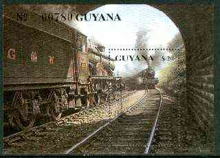 Guyana 1990 British Steam Locomotives m/sheet (GWR Castle Class) unmounted mint Sc #2296