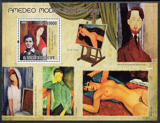 St Thomas & Prince Islands 2009 Amedeo Modigliani perf s/sheet unmounted mint
