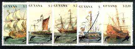 Guyana 1990 Early Sailing Ships set of 5 unmounted mint, Sc #2353-57*