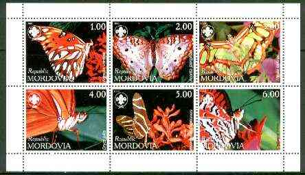 Mordovia Republic 1999 Butterflies (with Scout Logo) sheetlet containing complete set of 6 values unmounted mint