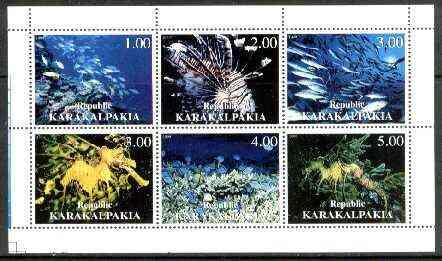 Karakalpakia Republic 1999 Marine Life sheetlet containing complete set of 6 values unmounted mint