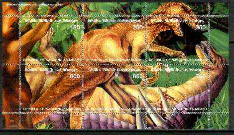 Nagorno-Karabakh Republic 1999 Dinosaurs composite sheetlet containing complete set of 6 values unmounted mint