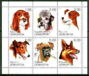 Udmurtia Republic 1999 Dogs sheetlet containing complete set of 6 values unmounted mint