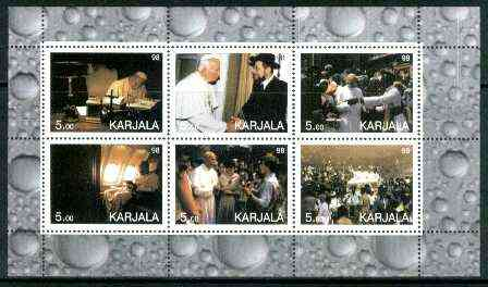 Karjala Republic 1999 Pope sheetlet containing complete set of 6 values unmounted mint