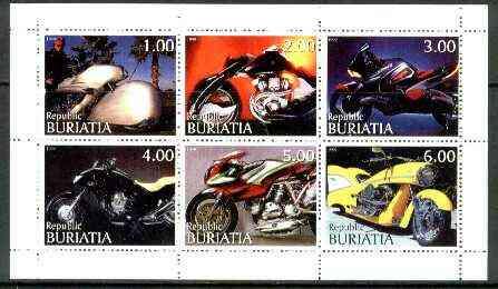 Buriatia Republic 1999 Motorbikes sheetlet containing complete set of 6 values unmounted mint