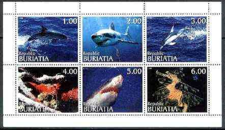 Buriatia Republic 1999 Marine Life (Dolphins, Sharks, etc) sheetlet containing complete set of 6 values unmounted mint
