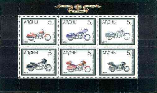 Abkhazia 1998 Harley Davidson Motorbikes sheetlet containing complete set of 6 values unmounted mint, stamps on motorbikes