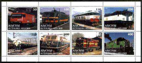 Abkhazia 1998 Railways sheetlet containing complete set of 8 values unmounted mint