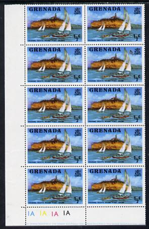 Grenada 1975 1/2c def (Yachts) horizontal pair, one stamp with SALINES error unmounted mint, SG 649a
