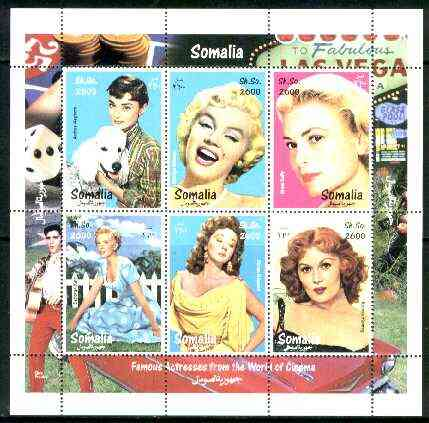 Somalia 1998 Film Stars #1 (Actresses) sheetlet containing complete set of 6 values (A Hepburn, Marilyn, Grace Kelly, S Hayward etc with Elvis in border) unmounted mint