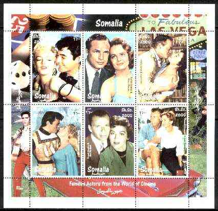 Somalia 1998 Film Stars #2 (Actors & Actresses) sheetlet containing complete set of 6 values (Marilyn, Brando, Sinatra, Ava Gardner, Tony Curtis, etc with Elvis in border) unmounted mint