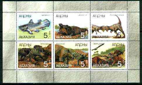 Abkhazia 1998 Dinosaurs sheetlet containing complete set of 6 values unmounted mint