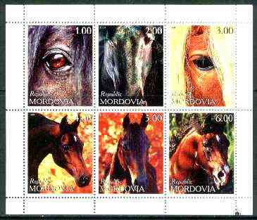 Mordovia Republic 1999 Horses perf sheetlet containing complete set of 6 values unmounted mint